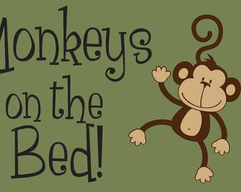 items similar to wood sign no more monkeys jumping on the. Black Bedroom Furniture Sets. Home Design Ideas