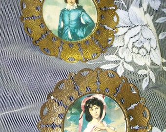 Blue Boy Pink Girl Plaques Victorian Wall Plaques Gold Metal Plaques
