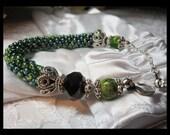 Crochet Beaded Bracelet, Green Bracelet, Sterling Silver Bracelet & Earring set