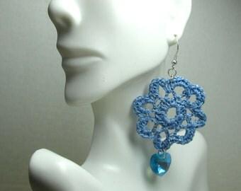 Blue Filigree Crochet Earrings