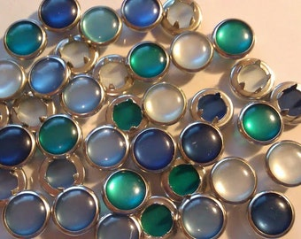 24 Ocean Beach Collection Pearl Snap 4 Part Prong Size 16 - Blues Teal  White