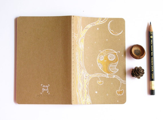 Owl Journal painted Notebook Christmas stocking stuffer