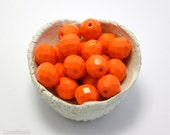 Large Bright Orange Czech Fire Polished Beads 10mm (10) Opaque Polish Faceted Glass Round  Big LAST