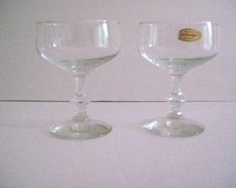 Vintage Durobar champagne stemware set, 70s Belgium Concorde Durobar glassware, barware, wedding  champagne glasses
