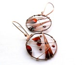 Autumn copper earrings, brown orange resin earrings, leaf earrings, butterfly earrings, dangle earrings - ThePurpleBalloon