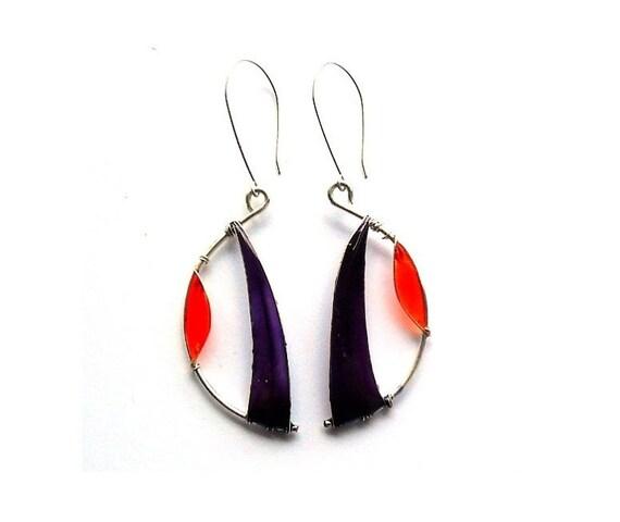ON SALE 40%  Semi lunar earrings, purple orange resin earrings, wire wrapped earrings, half moon dangle earrings teamt