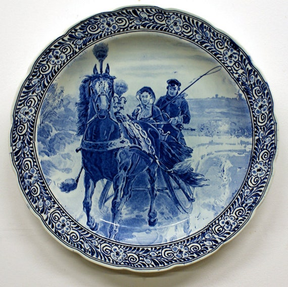 Extra Large Delft Blue Wall Plate By Aardewerkenzo On Etsy
