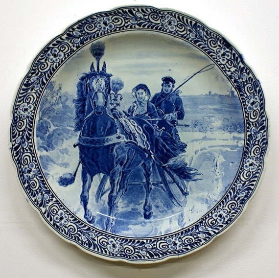 Blue Wall Plates: Extra Large Delft Blue Wall Plate
