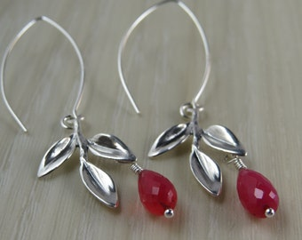 Sterling silver leaf earrings with dark pink Chalcedony drops