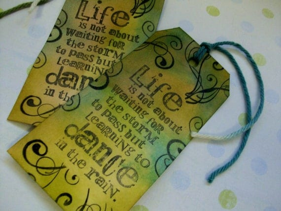 "Handmade Stamped And Inked ""LIFE""Tag Or Bookmark"