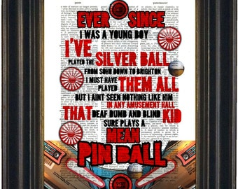 The Who Pinball Wizard  song lyric Print on upcycled Vintage dictionary  Page