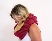 Infinity cowl neckwarmer crochet winter fashion in ruby, Calypso Cowl, under 50