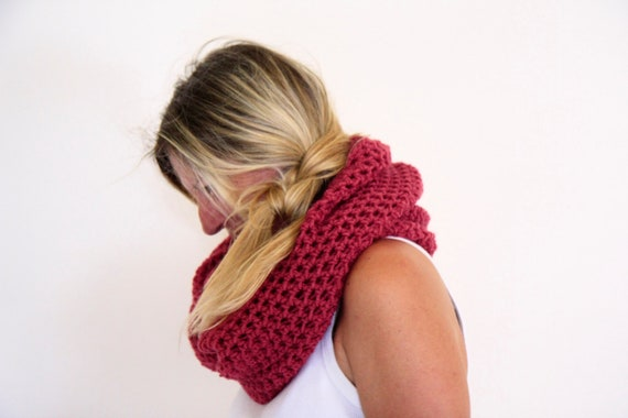 Infinity cowl neckwarmer crochet winter fashion in ruby, Calypso Cowl, under 50