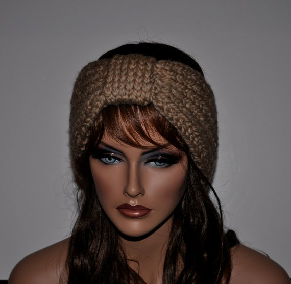 Knitted Headband Ear Warmer, Reversible ,Womens Headband in Barley, Light Brown , HBNO. 54