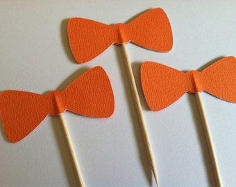 12 TANGERINE bow tie cupcake toppers-bow appetizer picks
