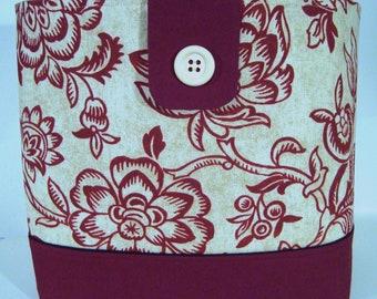 Large Tote Bag-Book Bag- Diaper Bag-Purse- Lovely Burgundy Creme Jacobean Floral
