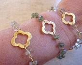 SALE Van Cleef & Arpels inspired 3-Gold Clover and Lemon Quartz bracelet