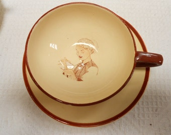 Vintage French Ty Breiz Cozic Gourin Faience Cup and Saucer  (A552)