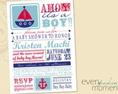 Nautical Baby Shower Invitation -- digital, custom, printable -- Baby Boy--  Nautical Baby Shower Invite