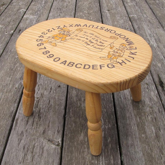 Wooden Step Stool With Alphabet And Elves Vintage