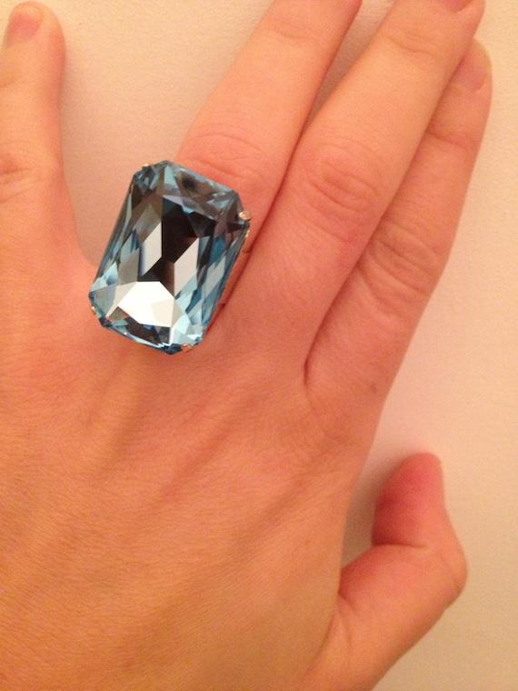 Aquamarine Swarovski cabochon octagon cocktail silver  plated ring