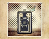 Vintage Kodak Brownie Photo, Butterfly and Polka Dots--Fine Art Lomography 10x10