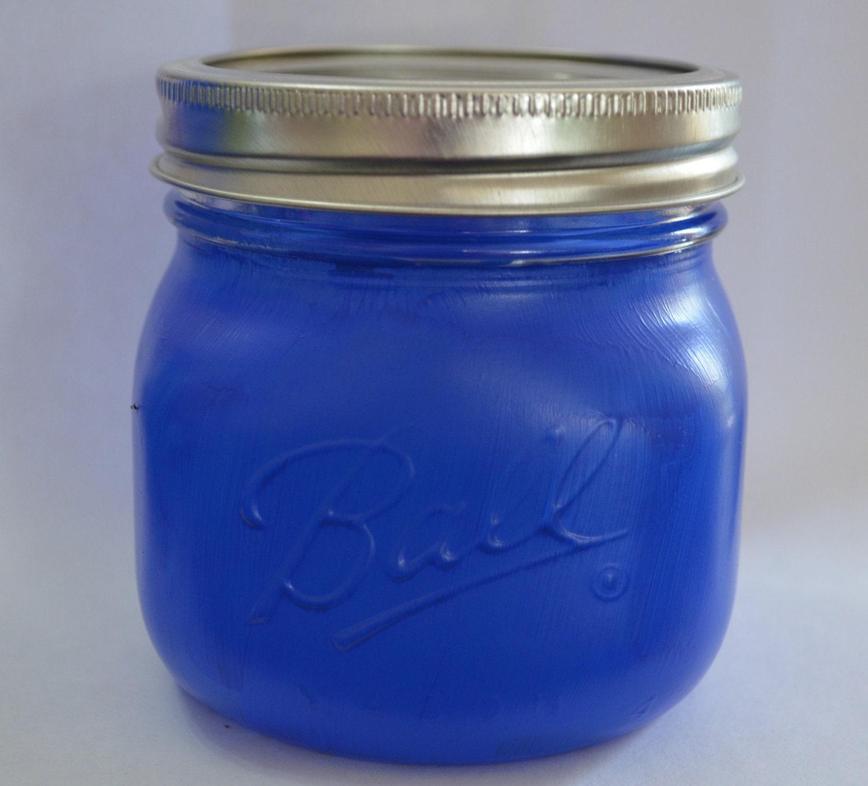 blue short pint size mason jar with wide mouth lid. Black Bedroom Furniture Sets. Home Design Ideas