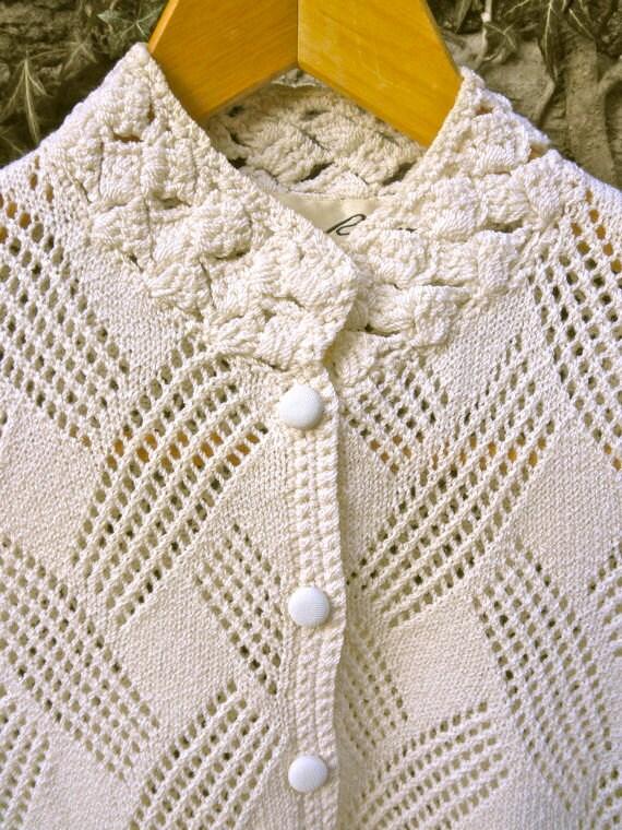 SALE 70s Cream Knit Short Sleeve Cardigan - Lillie Rubin - Womens Small XS