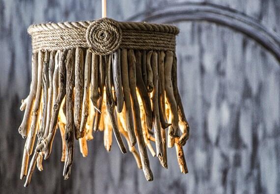 Driftwood Hanging Light Chandelier / Table Lamp, Coastal Chic Lamp, Rope Lamp, Hanging Light, Sunburst Lamp