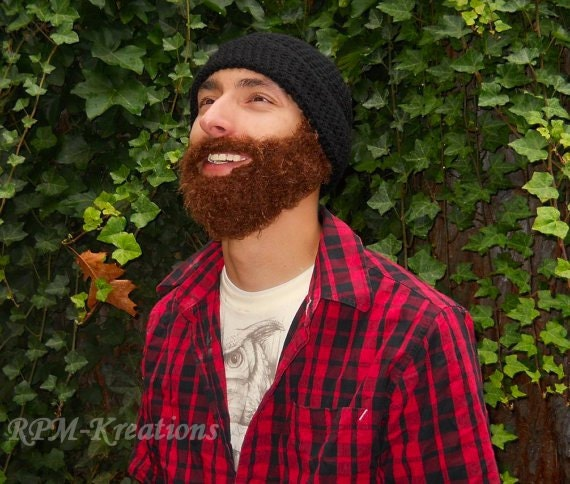 The Original FUZZY Hand-Crocheted Hobo Beard Beanie- best beard beanie around!