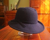 1940s Ladies Smart Navy Wool Fedora