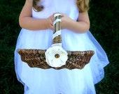 RESERVED for Carly - Flower Girl Basket - Fall Wedding Flower Girl Basket - Rustic Basket - Twig Basket - Ivory Flower Basket