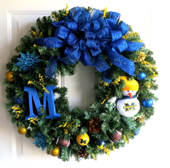 University Of Michigan Christmas Wreath U Of M Wreath