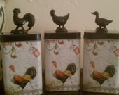 Collection of 3 Whimsical Tea or Spice Canisters with Rooster, Hen and Goose tops.