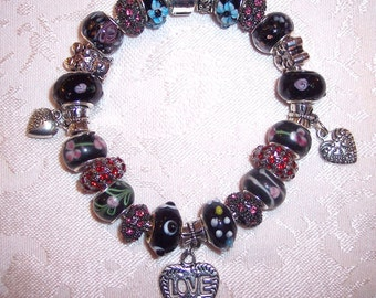 8 1/4 inch Black European Style Bracelet with Heart Charms