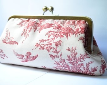 Toile Print Kisslock Clutch:  Kisslock Frame Purse for wedding / bridal / party / Birthday gift / Pink Toile Birds