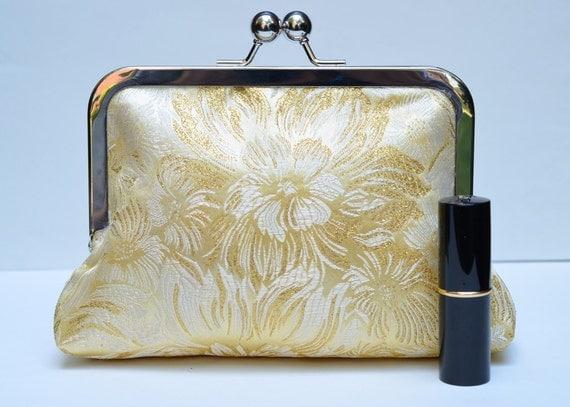 Golden Clutch Bag, Brocade Kisslock Frame Clutch, Cosmetic Pouch, Wedding Accessory, Bridesmaids Gift