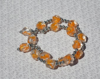 Silver and Orange Bracelet