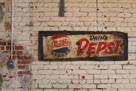 Vintage 1950 S Metal Pepsi Cola Sign By Johnmihovetz On Etsy