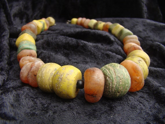 """Antique African Hebron bead necklace with agate, 20"""""""