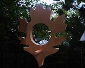 Oak leaf wood birdfeeder-pine