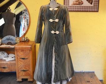 Victorian Moss Green Velveteen Overcoat Fairy Queen Steampunk XS / S