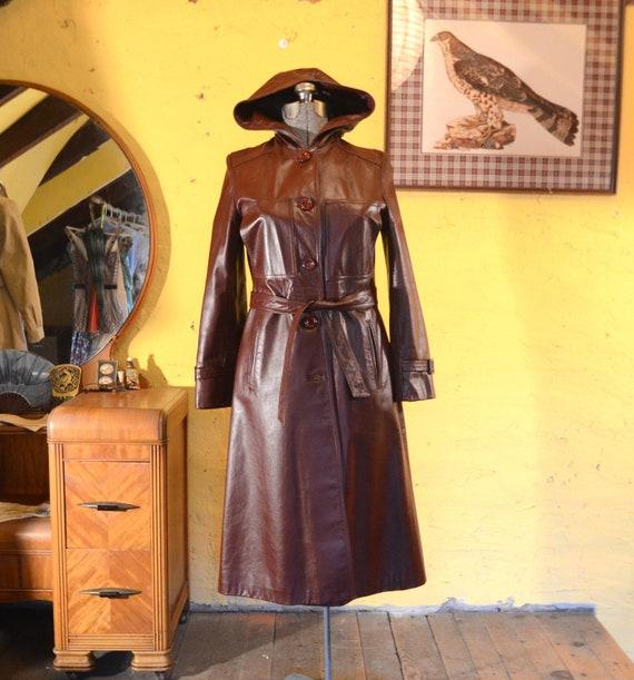 Burgundy Hooded Long Leather Aviatrix / Spy Trench Coat 70s S