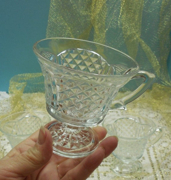 Clear Pressed Glass Footed Cups With Diamond And Scallop