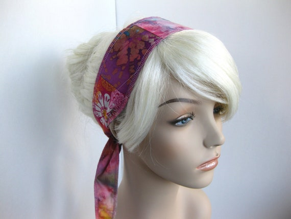 Hair Wrap Women's Boho Upcycled Patchwork Tie Headband Batik Tie Dye Floral Prints Purple Pink Fashion Hair Accessory