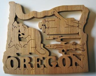 Oregon State Shape Wood Cutout Sign Wall Art Detailed Design Decor