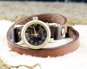 Leather Watch & bracelet , brown leather,vintage,classical, 2xWrap (WN40-3)