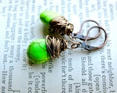 Briolette Earrings // Lime Green Earrings // Wrapped Earrings  // Wire Wrapped Bronze Briolettes Fashion Funky Gift Lime Green Southwestern