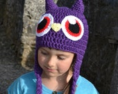 Purple Owl Monster Hat, Crochet Baby Hat, Animal Hat, photo prop, Inspired by Moshi Monsters  - Baby, Toddler, Child