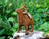 On Hold for Kim /Antique Mechanical Toy camel with little rider made of tin